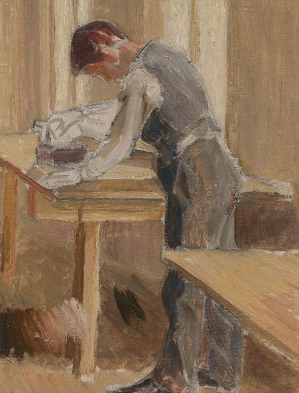 Tyko Sallinen: Silittävä räätälinkisälli, 1905 © HAM / Kuva: Hanna Kukorelli